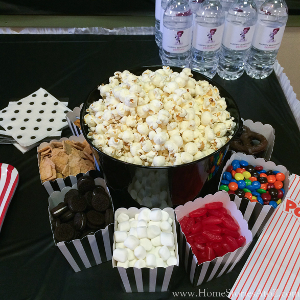 Movie theme birthday party popcorn bar-6
