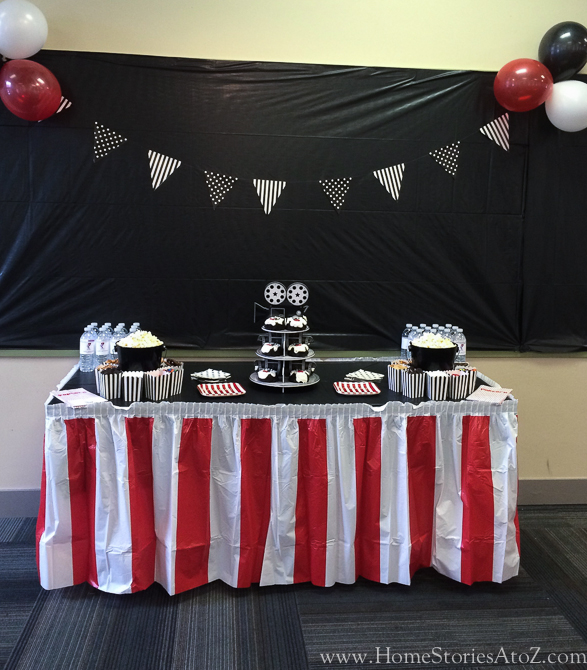 Movie theme birthday party popcorn bar