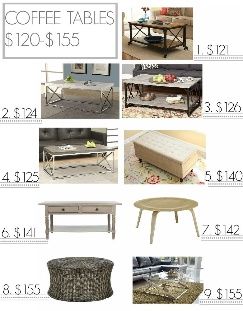 Inexpensive coffee tables from $120-$155