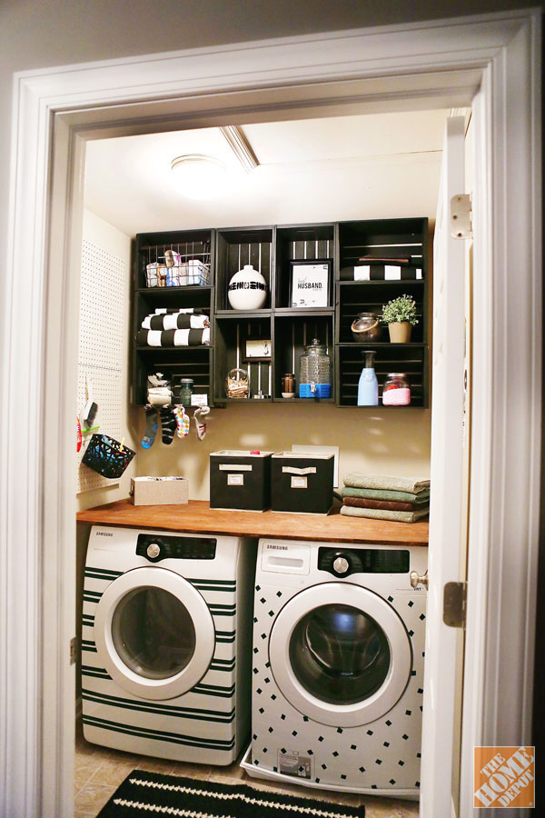 budget laundry room makeover & 25 Small Laundry Room Ideas