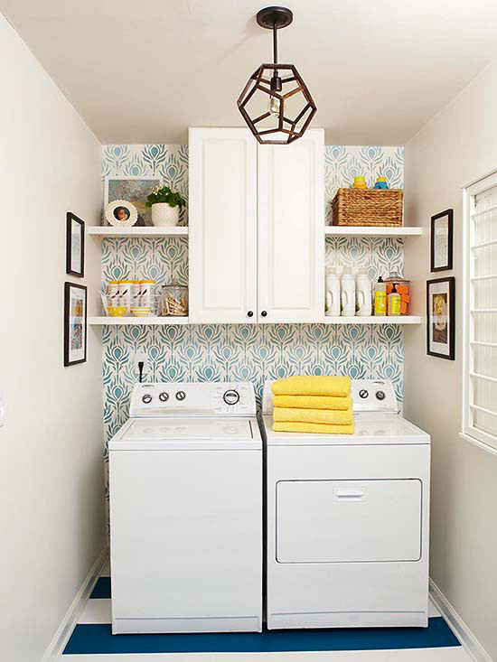 25 small laundry room ideas home stories a to z for Decorate a laundry room
