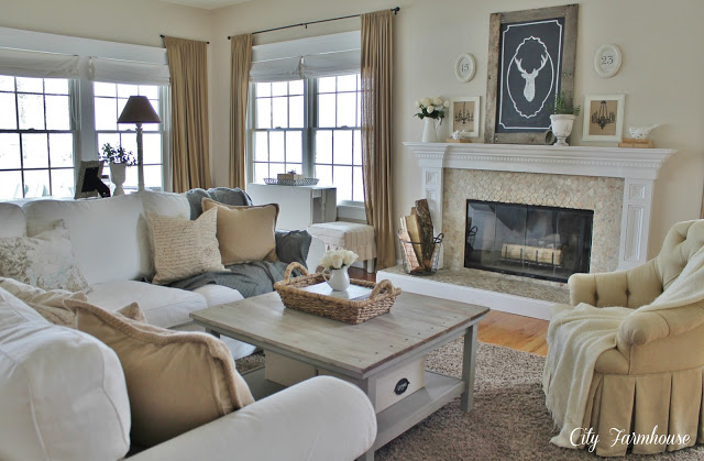 neutral living room by city farmhouse