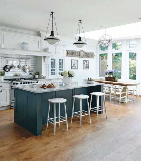 white marble blue green kitchen