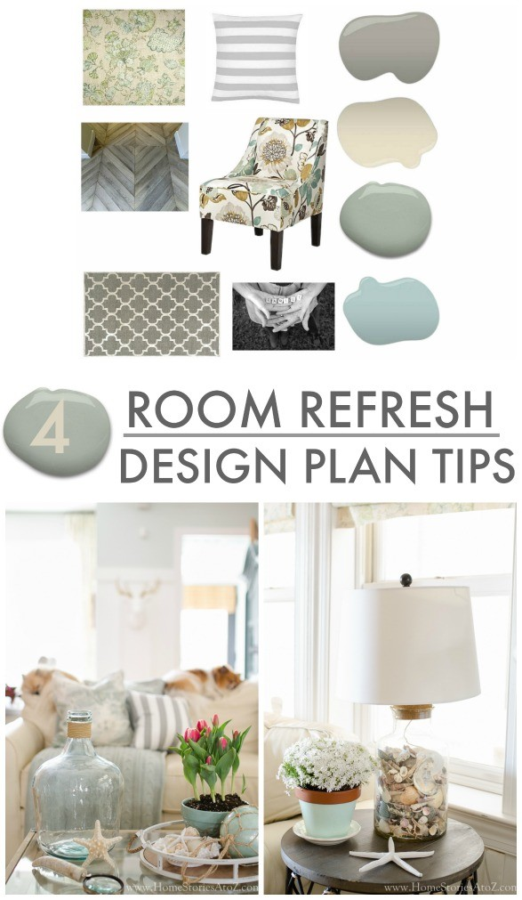 4 room refresh design plan tips. Good advice for redecorating a room.