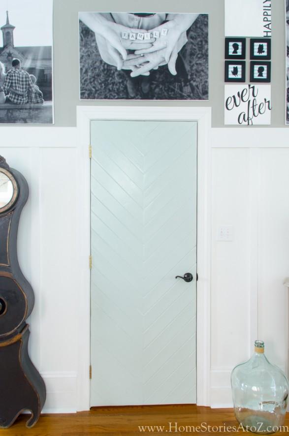 Gallery wall with custom herringbone doors-2