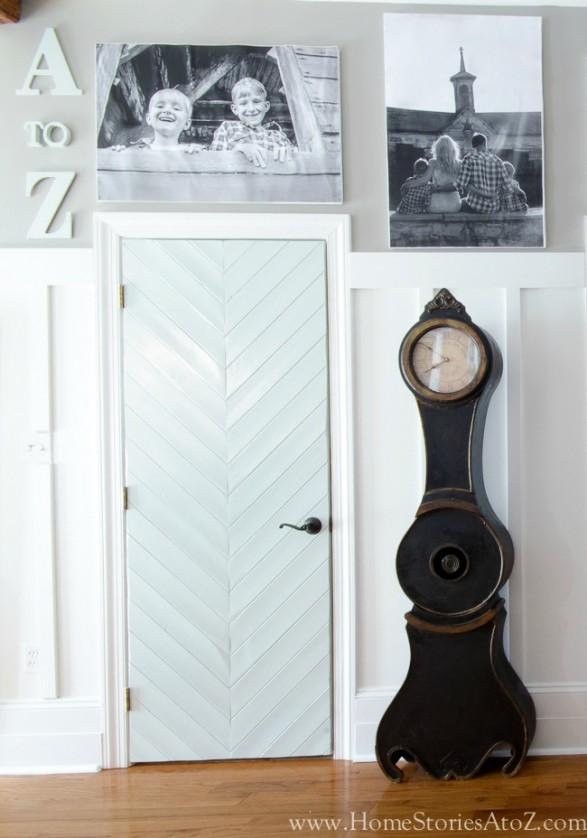 Gallery wall with custom herringbone doors