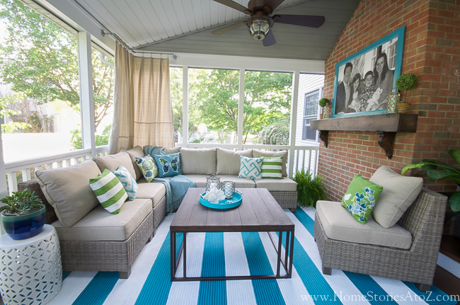 Lowe 39 s screen porch and deck makeover reveal Screened in porch decor
