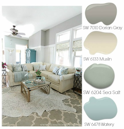 Dorian gray family room reveal with gallery wall home stories a to z - Beach house paint colors interior ...