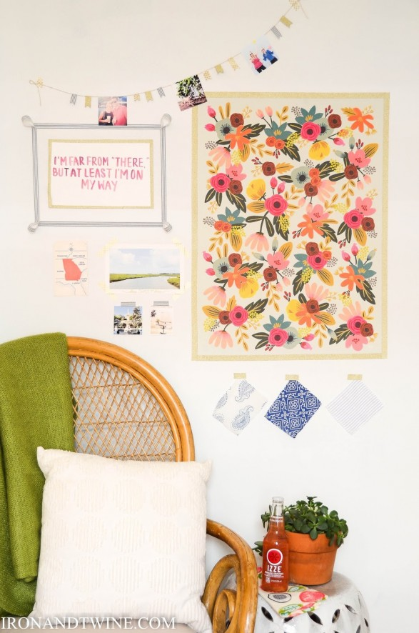 Use washi tape to hang dorm wall art