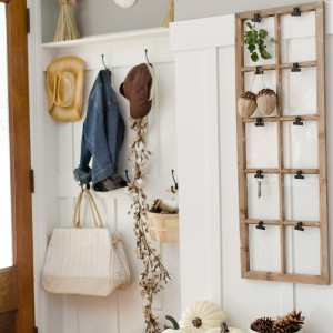 Decorating for fall in the mudroom