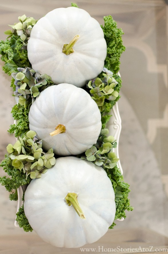 Decorating for fall with blue pumpkins