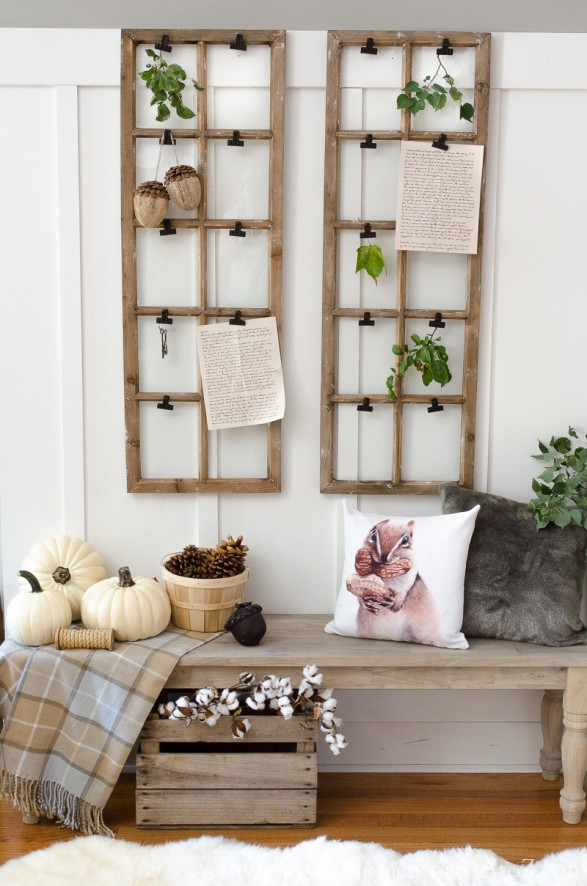 Fall mudroom decor