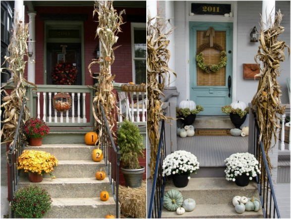 Porch decorated for fall in 2008 and 2014.