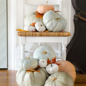spray painted chair with pumpkins