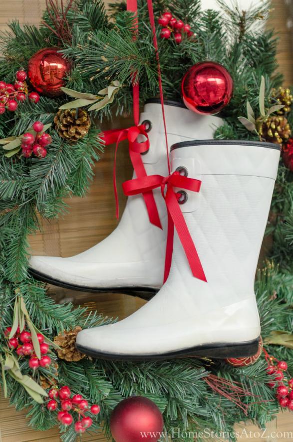 Christmas boots wreath idea
