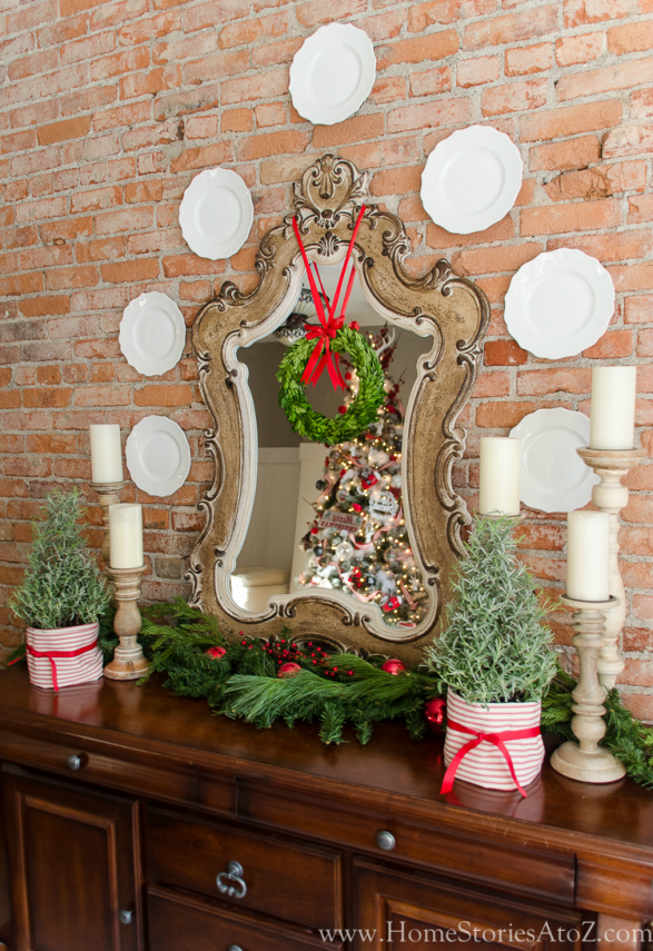 Christmas hutch with lavendar trees