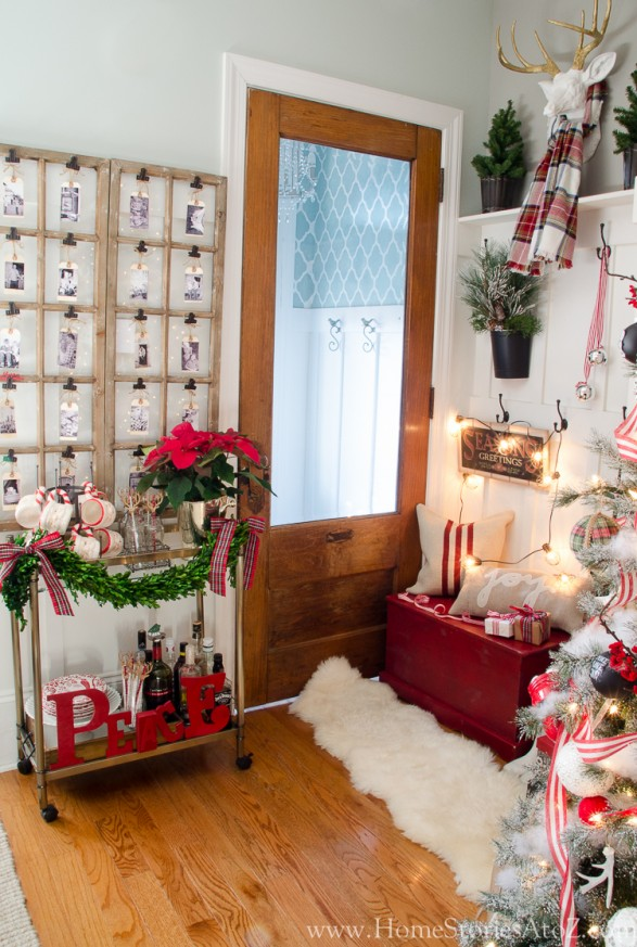 Christmas mudroom red plaid