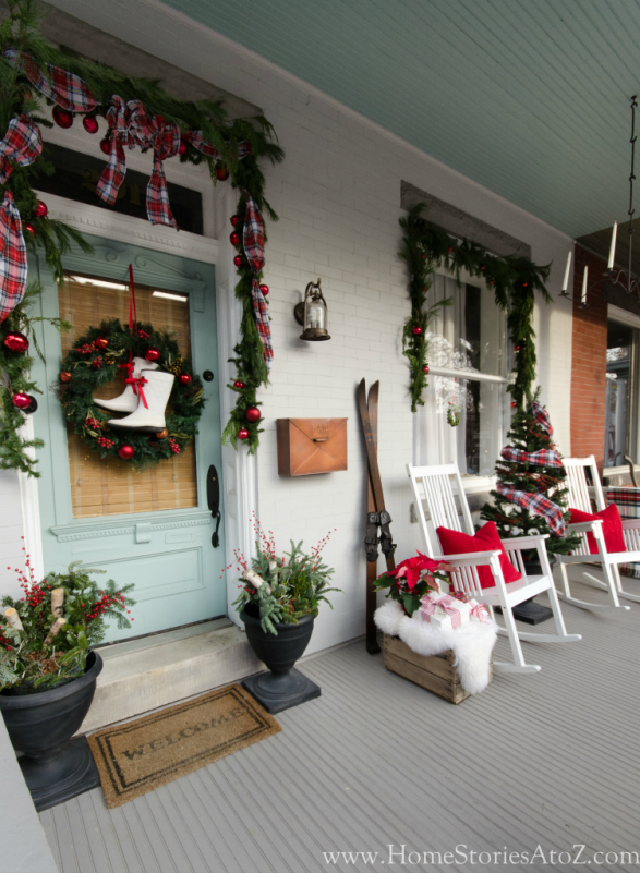 Christmas porch decorating idea plaid. Christmas porch full