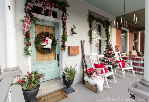 christmas porch plaid decorating idea
