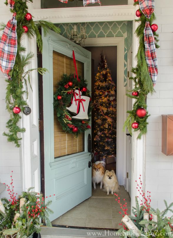 christmas porch dogs