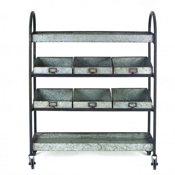 Zinc Metal Rolling Cart