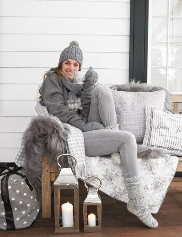 cozy gray porch decorating