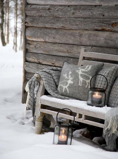 cozy winter porch