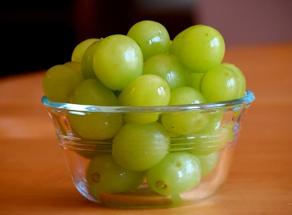 Frozen grapes healthy snack idea