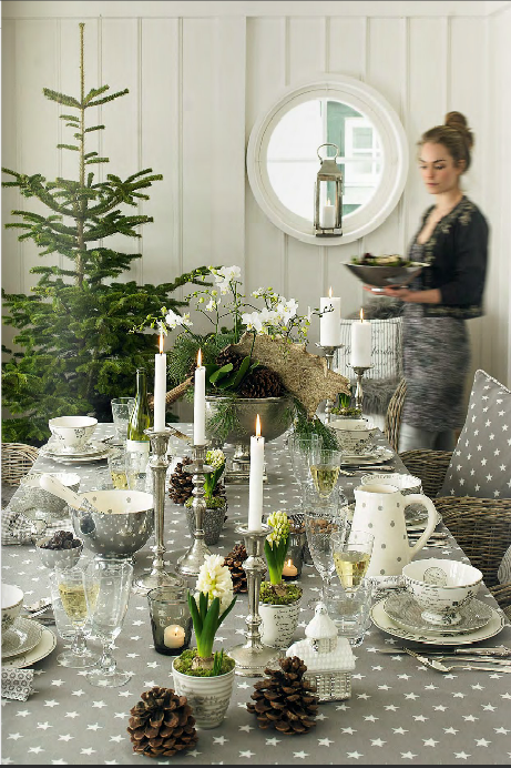 gray and green winter tablescape