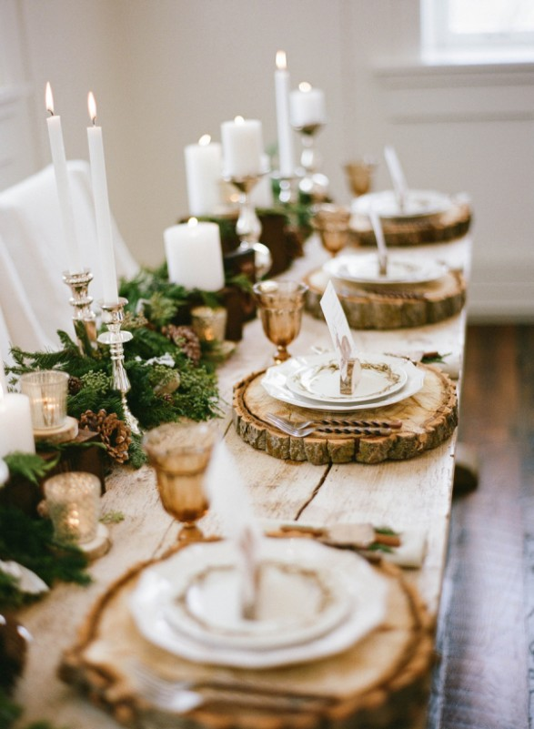 rustic winter tablescape idea