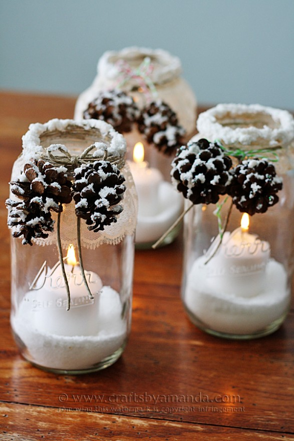 winter decor mason jars
