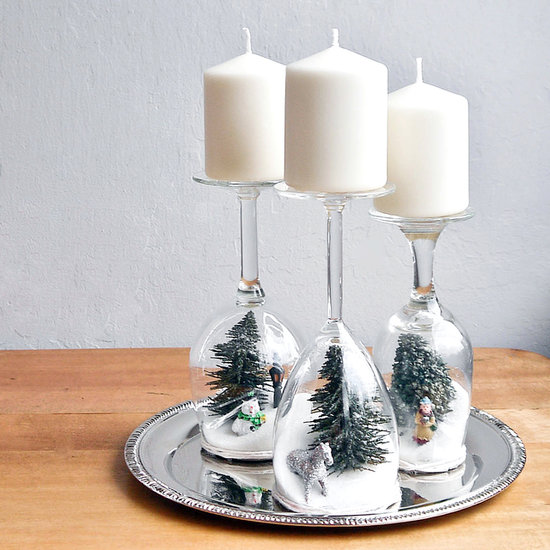 winter decor wine glass diorama