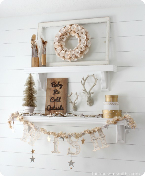 winter decorating gold shelves