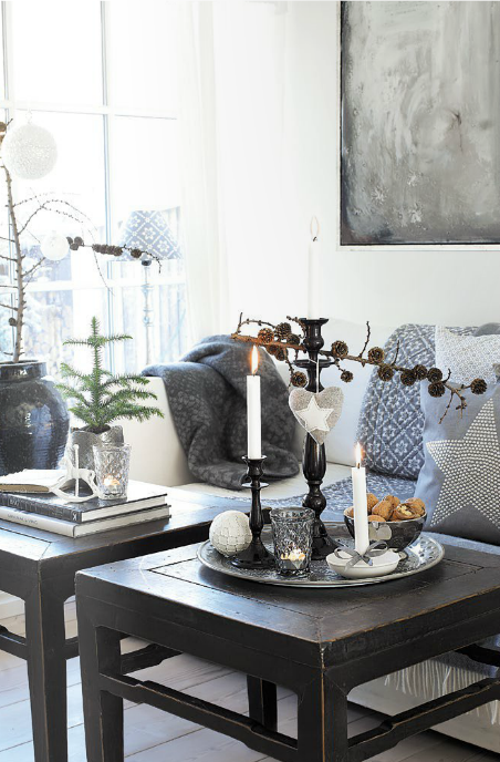 Wonderful Winter Family Room Decorating