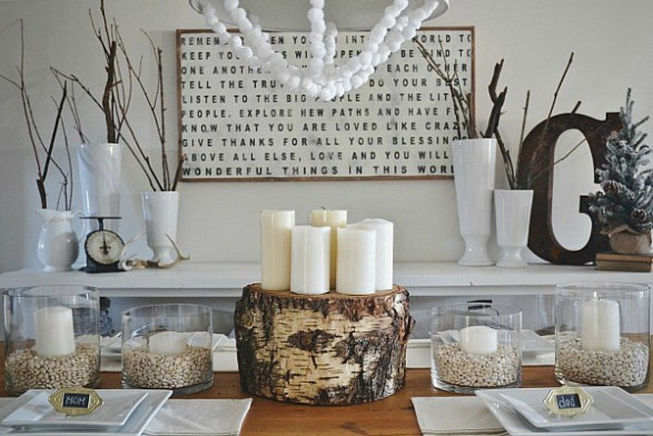 winter table decorating idea