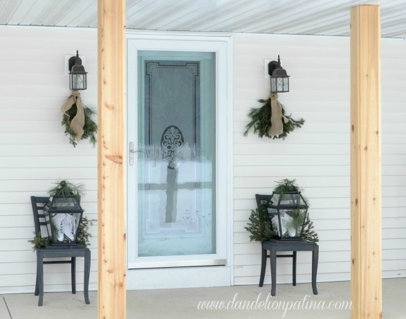 winter-themed-front-porch-with-aqua-door