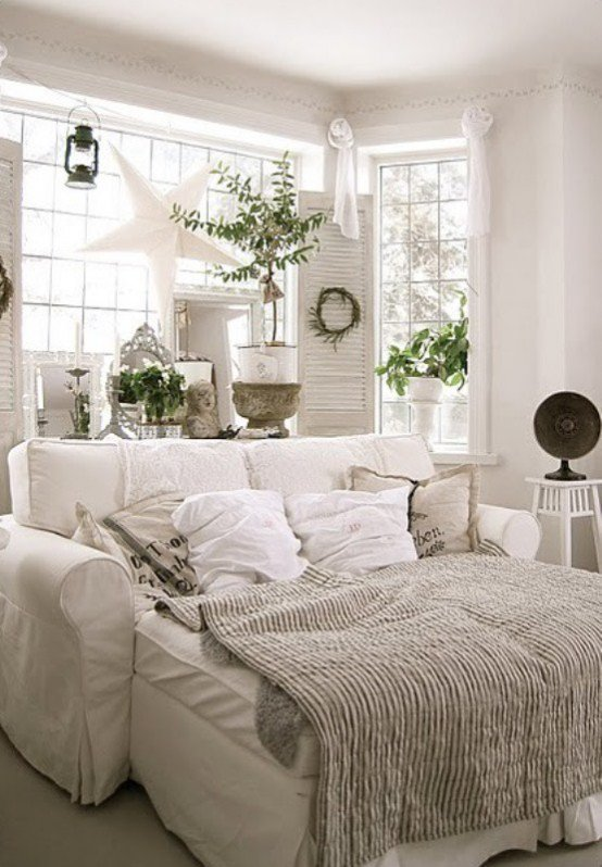 winter white farmhouse room