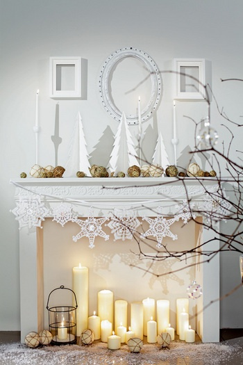 winter white mantel idea