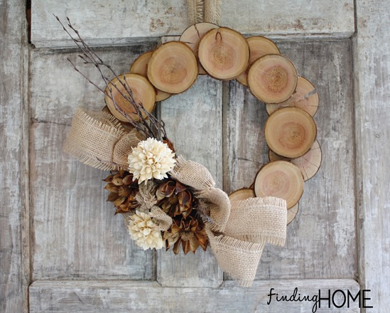 wood round wreath winter door idea