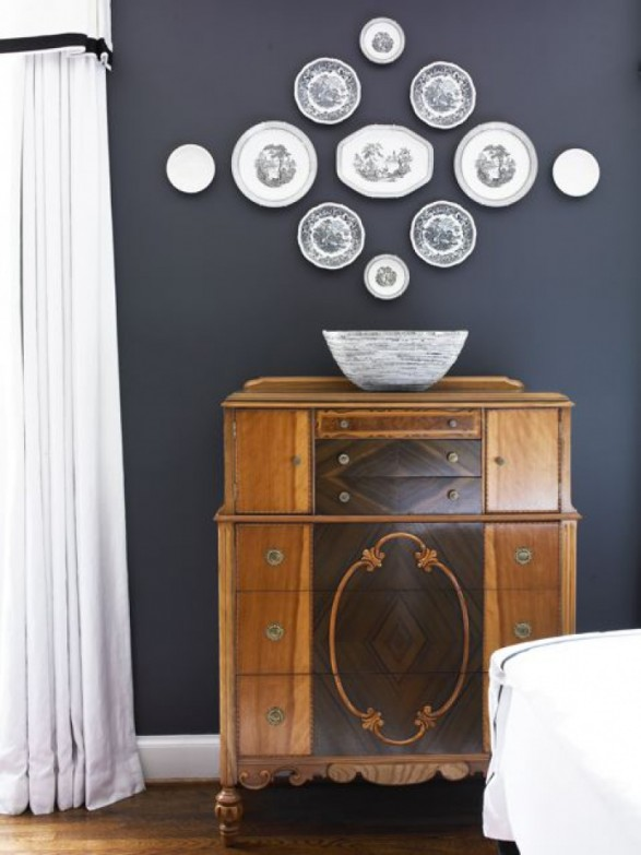 Black and white plate wall