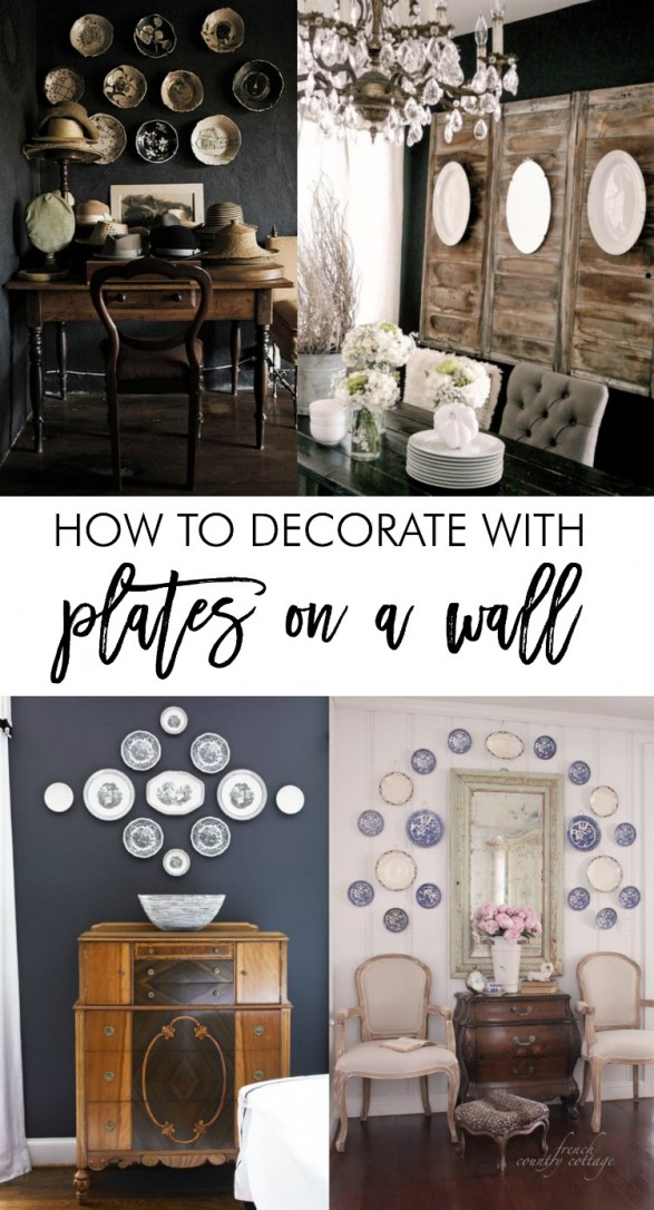 How to decorate with plates on a wall. Great tips on how to arrange and hang plates. Beautiful dish wall inspiration