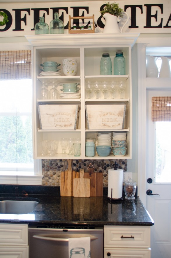 styled kitchen shelves