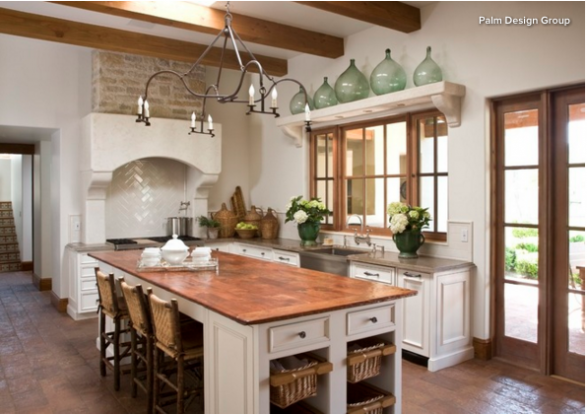 copper countertops in farmhouse kitchen
