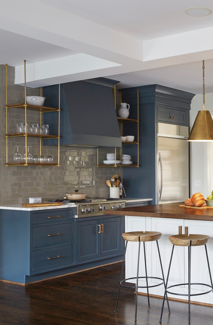 Slate Blue Cabinets With Gold Hardware