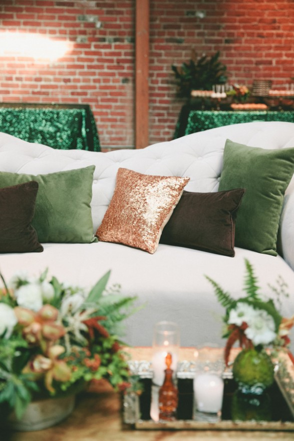 copper sequin pillow