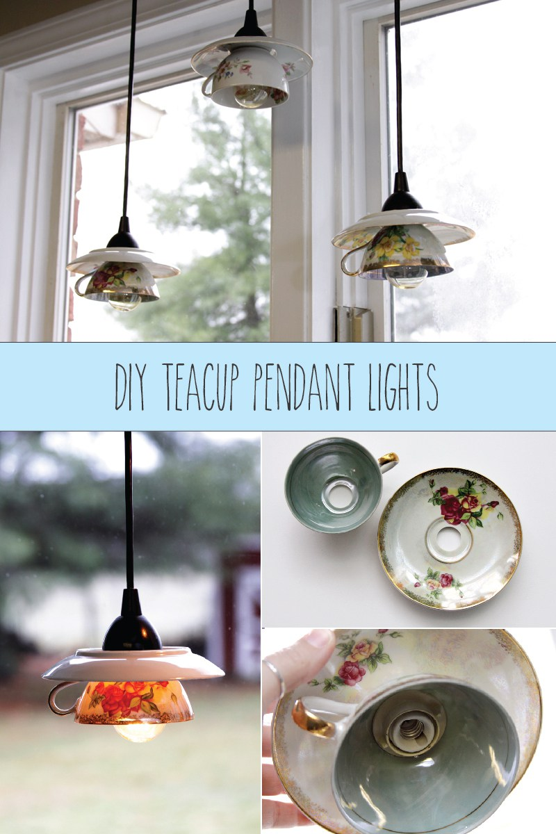 DIY Teacup Pendant Light Shades