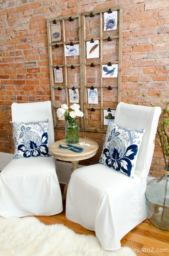 Free Spring Printable | Blue white sitting area