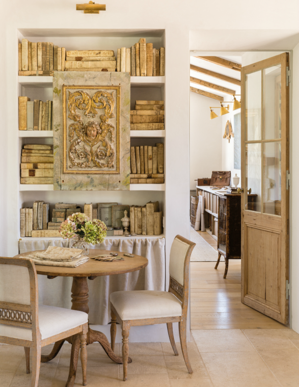 French country farmhouse bookshelves dining nook