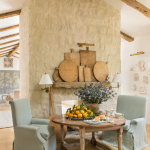 French farmhouse french country dining wood beams