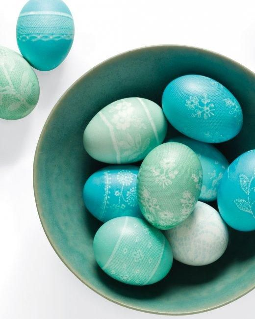 Lace wrapped Easter eggs